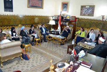 """<center>وزير الأوقاف خلال لقائه بوفد من رائدات مصر بالخارج <br/>المشاركات بمؤتمر """"مصر تستطيع بالتاء المربوطة""""<br/>يؤكد:<center/>"""